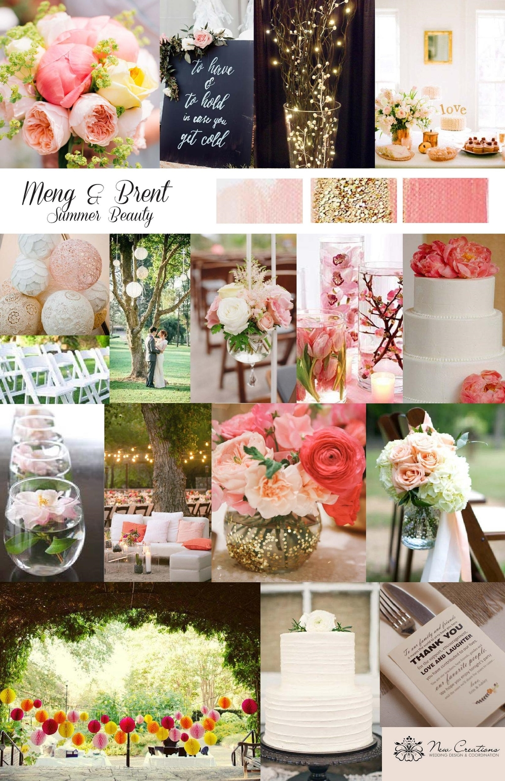 Original Inspiration Board For Meng and Brent Created by New Creations Weddings | Pink and Peach Wedding