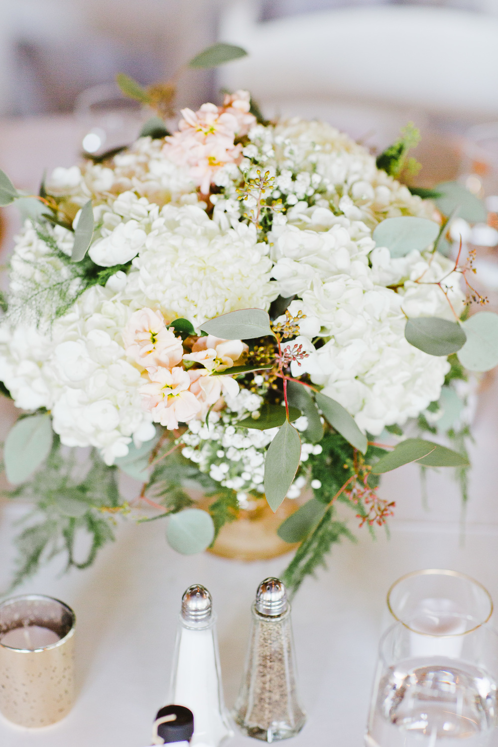 Blush And Ivory Wedding Centerpiece
