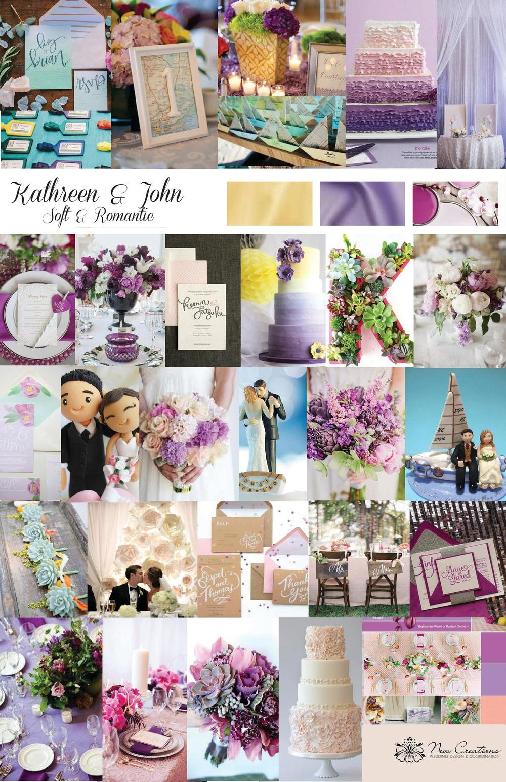 Original Design Inspiration Board Designed by New Creations Weddings | Pink Purple and Yellow Wedding Inspiration
