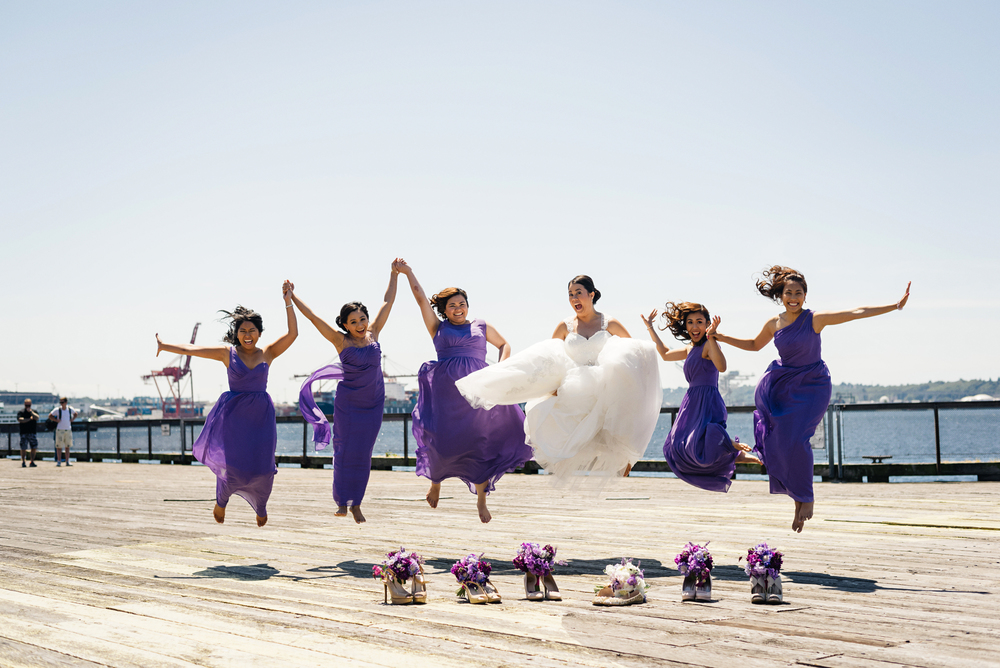 Purple Bridesmaids Dresses | Bridesmaids Jumping Photo | Joe and Patience Photography | Filipino Wedding Planner | Seattle Wedding Planner | Ballard Bay Club Wedding