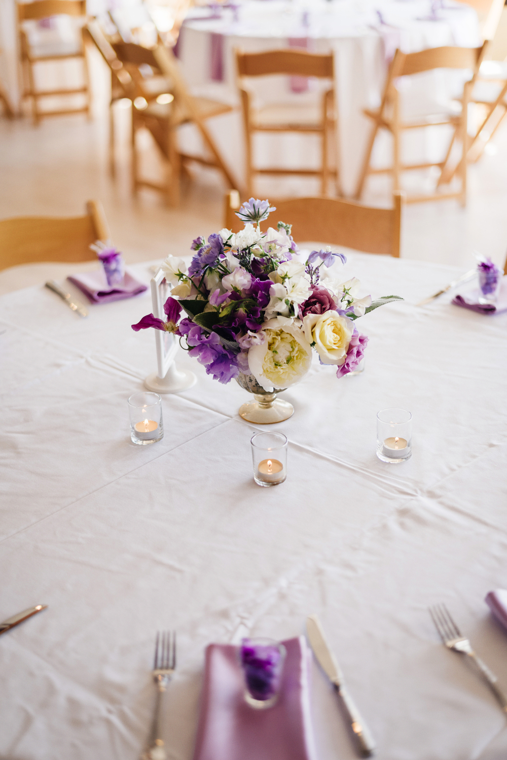 Purple and White Wedding Centerpiece | Joe and Patience Photography | Filipino Wedding Planner | Seattle Wedding Planner | Ballard Bay Club Wedding