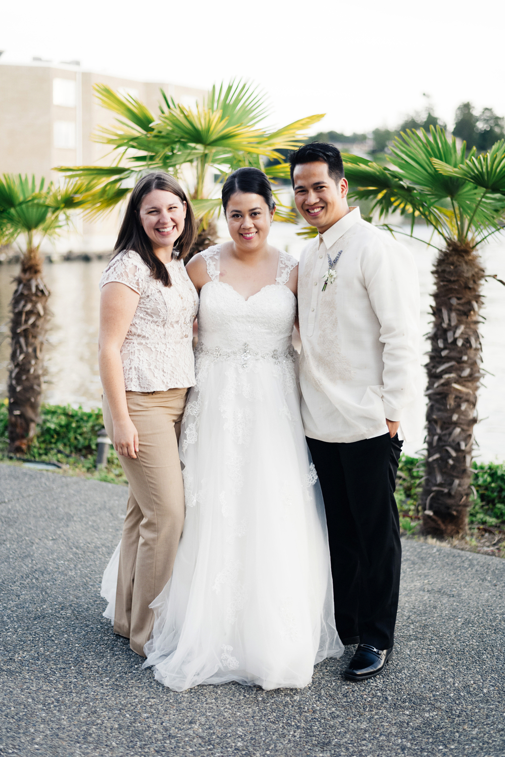 Bride and Groom with Wedding Planner | Joe and Patience Photography | Filipino Wedding Planner | Seattle Wedding Planner | Ballard Bay Club Wedding