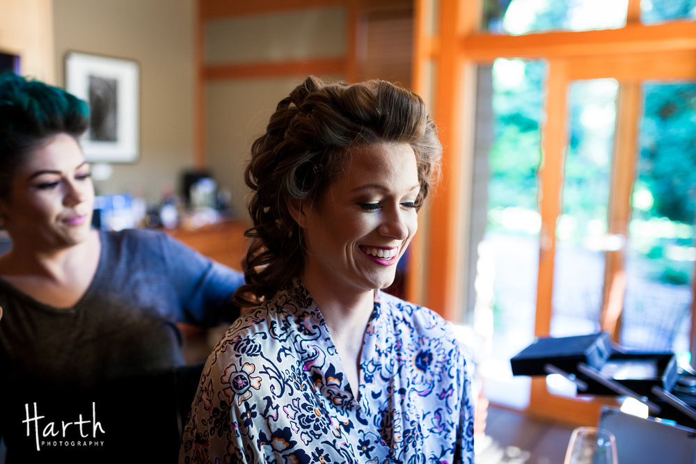 Bride Getting Ready for Wedding Day at Willows Lodge
