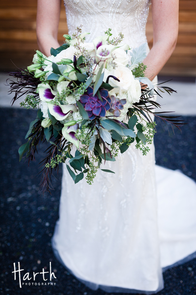 Purple Calla Lilly Wedding Bouquet at Willows Lodge