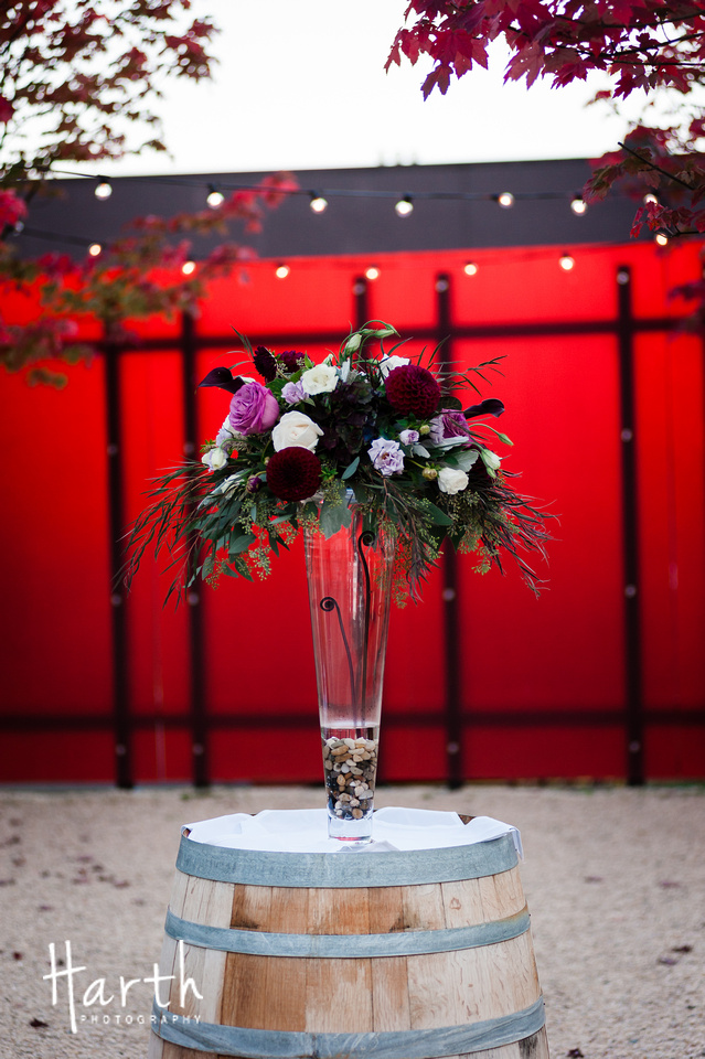 Purple Ivory and Red Wedding Arrangement at Novelty Hill Januik Wedding