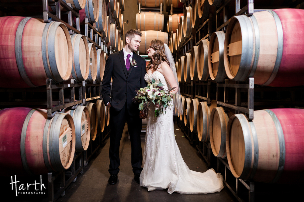 Barrel Room Wedding Photo at Novelty Hill Januik Winery Fall Wedding