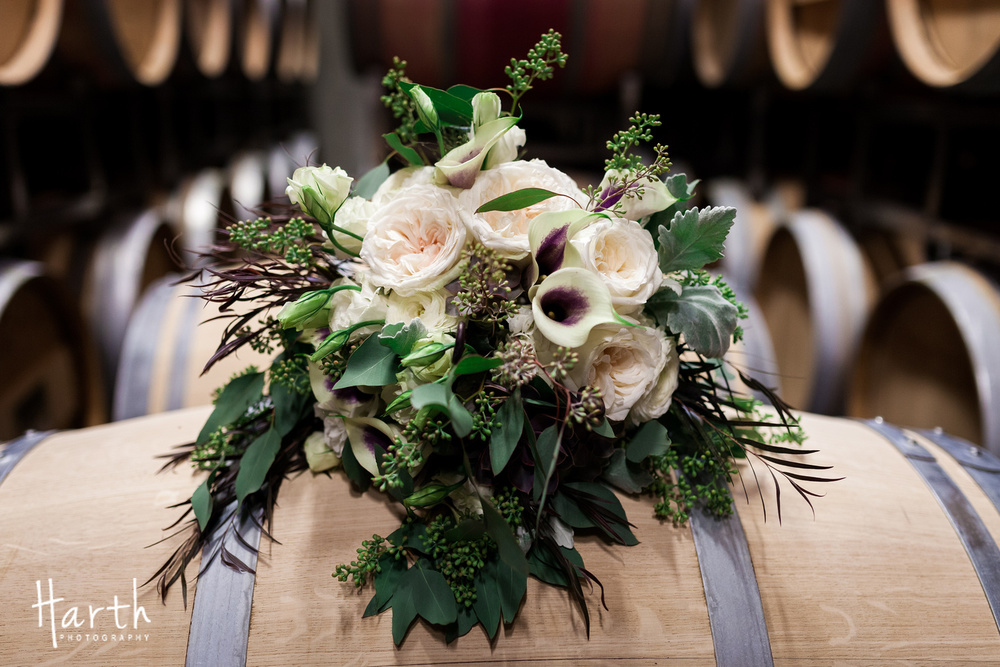 Purple Calla Lilly Wedding Bouquet at Novelty Hill Januik Winery Wedding