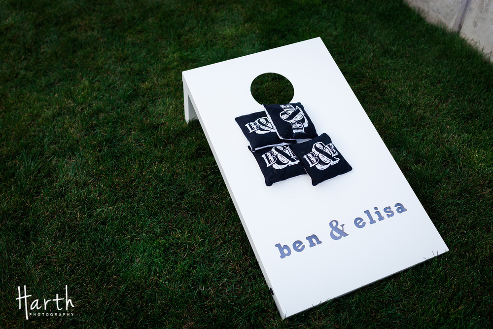 Custom Corn Hole Game for Fall Wedding at Novelty Hill Januik Winery