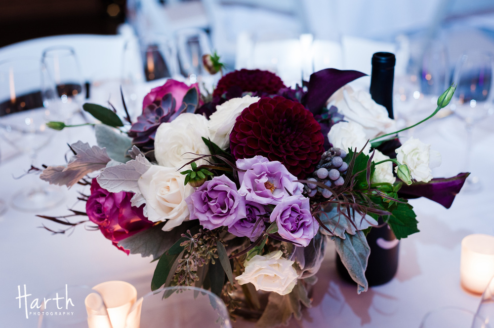 Purple Burgundy and Ivory Wedding Centerpiece for Fall Wedding at Novelty Hill Januik Winery