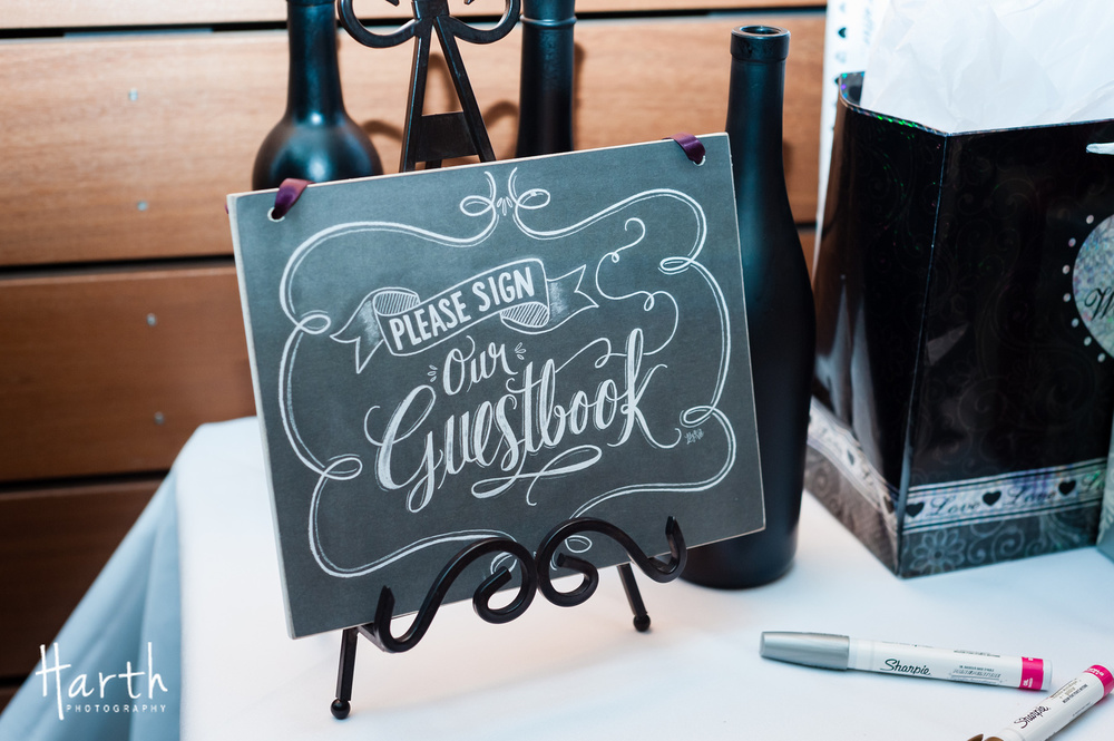 Guestbook Chalkboard Signage at Fall Wedding at Novelty Hill Januik Winery