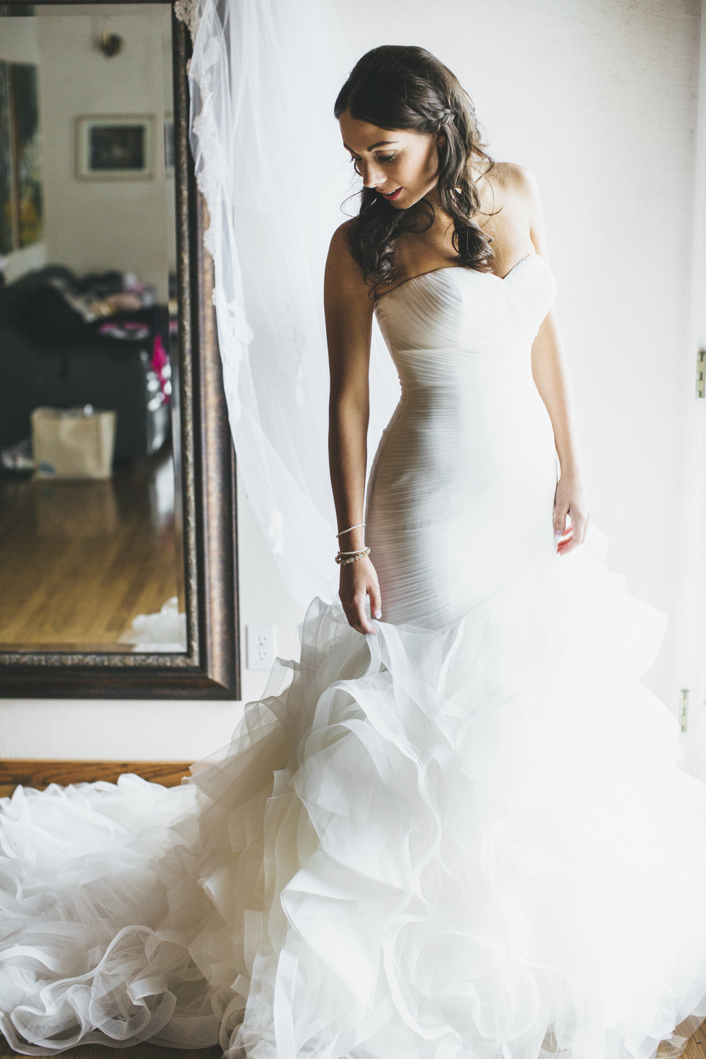 Mermaid Style Ruffled Wedding Gown