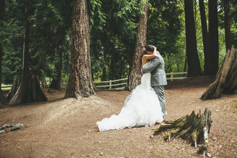 Ruffled Wedding Gown | First Look Photo in the Woods