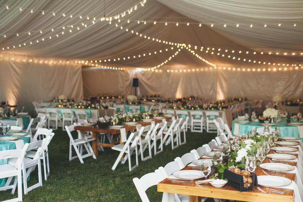 Cafe Tent Wedding Lighting for Teal and Green Northwest Wedding