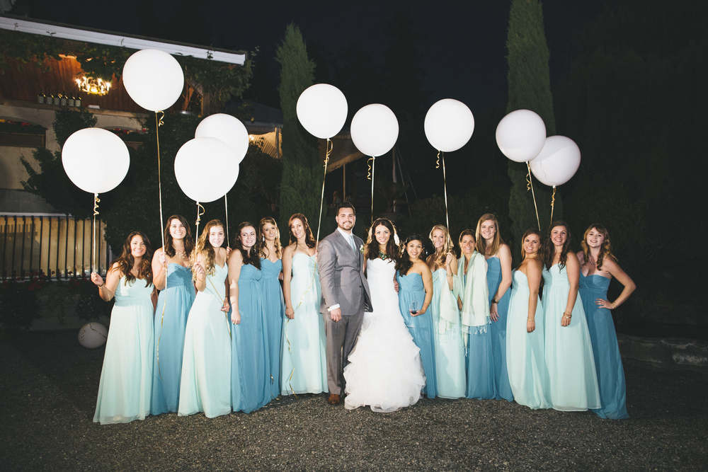 Wedding Party holding Balloons