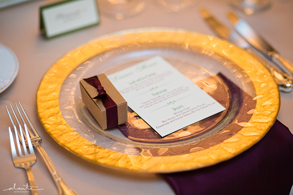Gold Charger Fall Wedding Inspiration at The Rainier Club Seattle