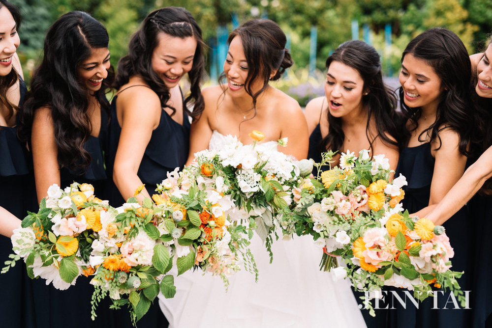 Garden Style Bridal Bouquet | Green, White, Orange and Navy Wedding | Chinese Wedding Planner | Seattle Wedding Planner