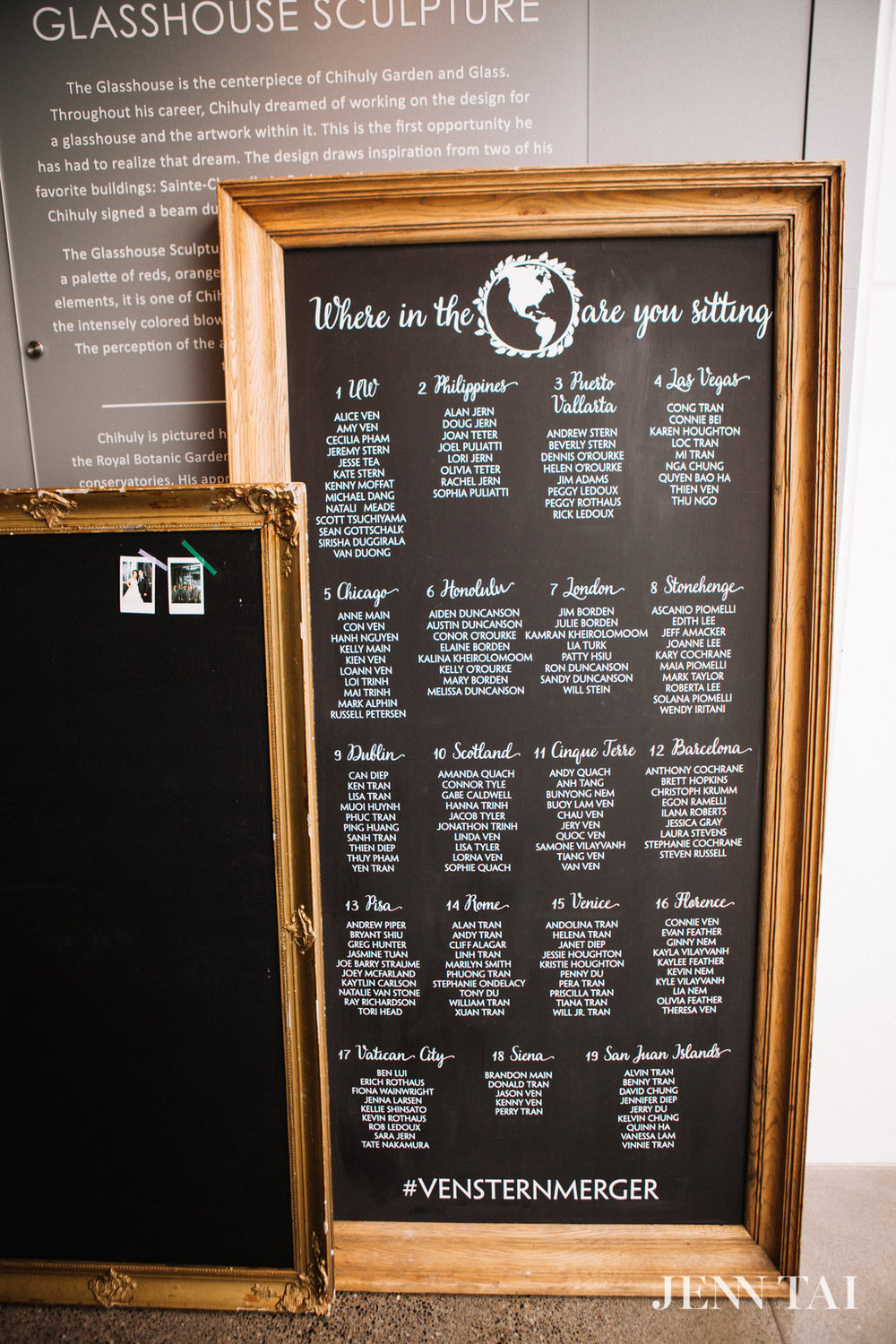 Chalkboard Seating Chart | Around the World Seating Chart | Seattle Wedding Planner