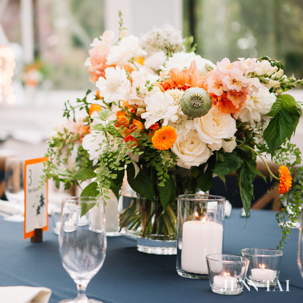 Orange, White, Green and Navy Wedding Centerpiece | Garden Style Wedding Centerpiece | Seattle Wedding Planner