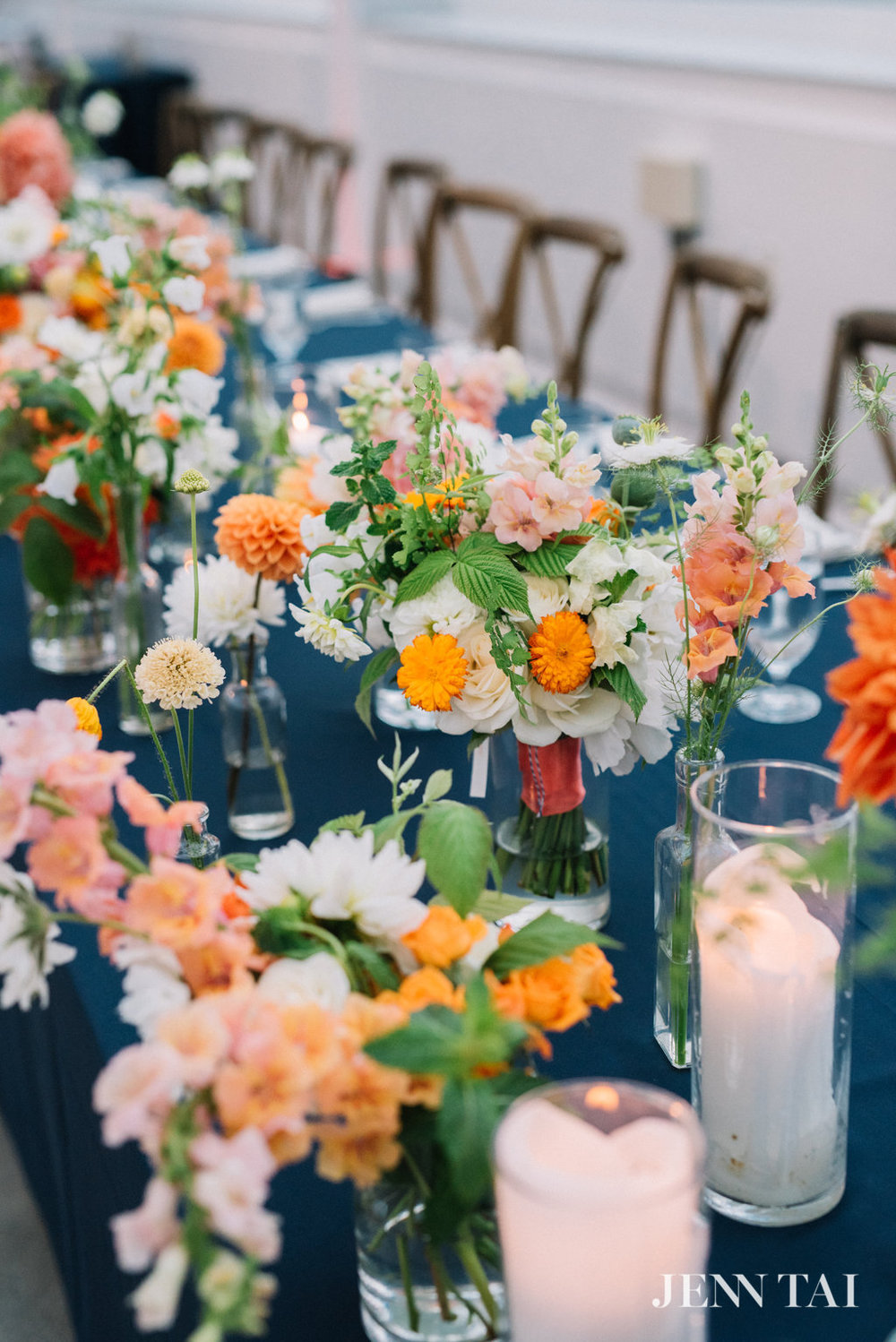 Rustic Style Wedding | Navy, Orange, Green and White Wedding | Garden Wedding Flowers | Seattle Wedding Planner