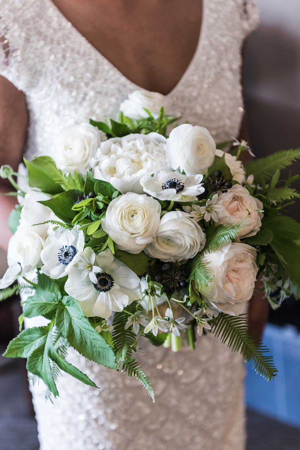 White and Green Wedding Bouquet with Ranunculus, Anemone and Peonies