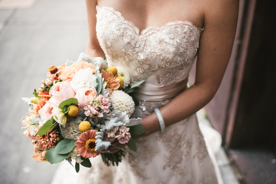 Luly Yang Wedding Gown with Colorful Spring Wedding Bouquet