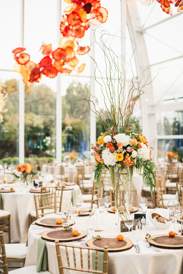 Orange, White, Yellow and Green Tall Modern Centerpiece at Chihuly Garden and Glass Wedding