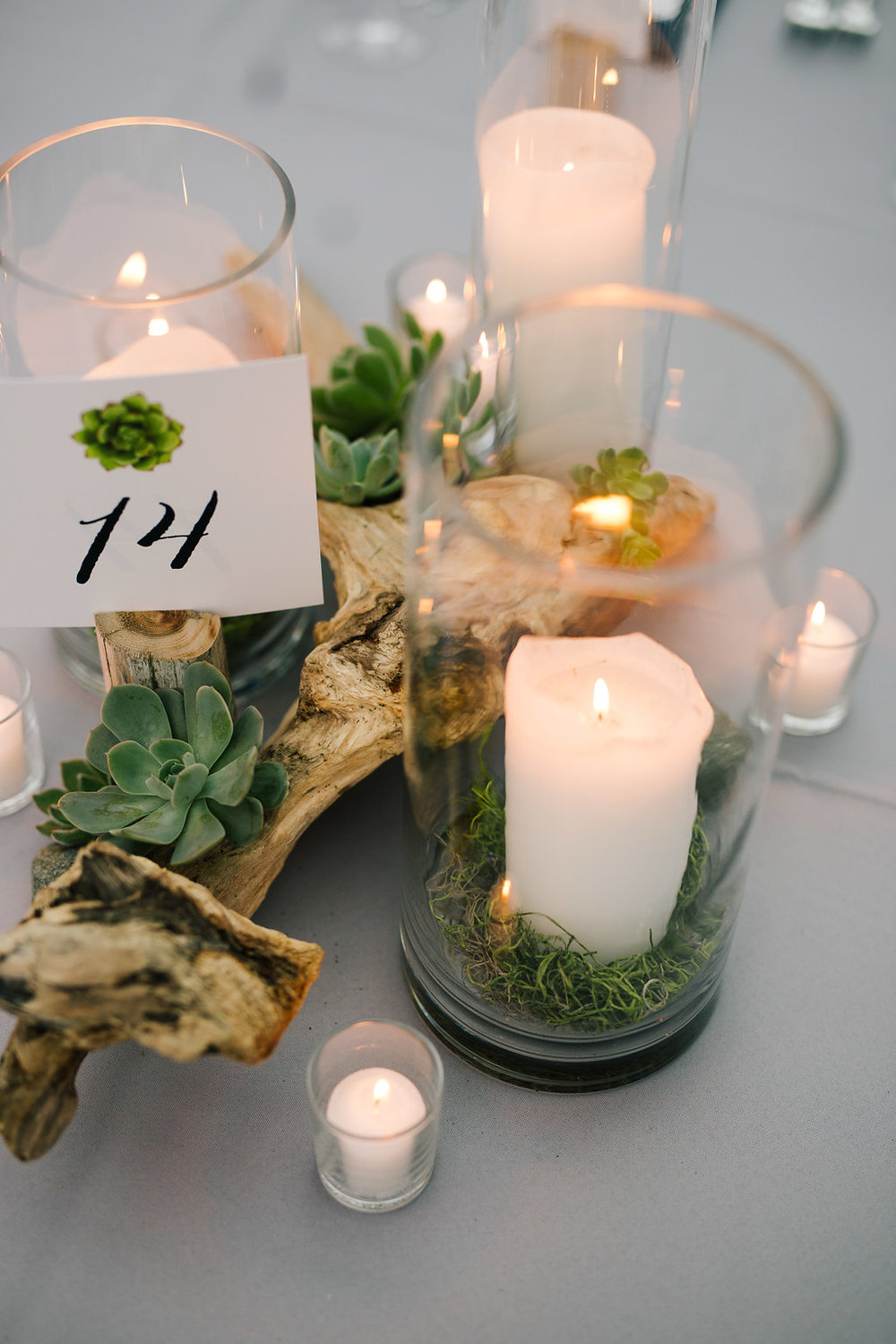 Succulent and Driftwood Centerpiece with Candles at Chihuly Garden and Glass Wedding