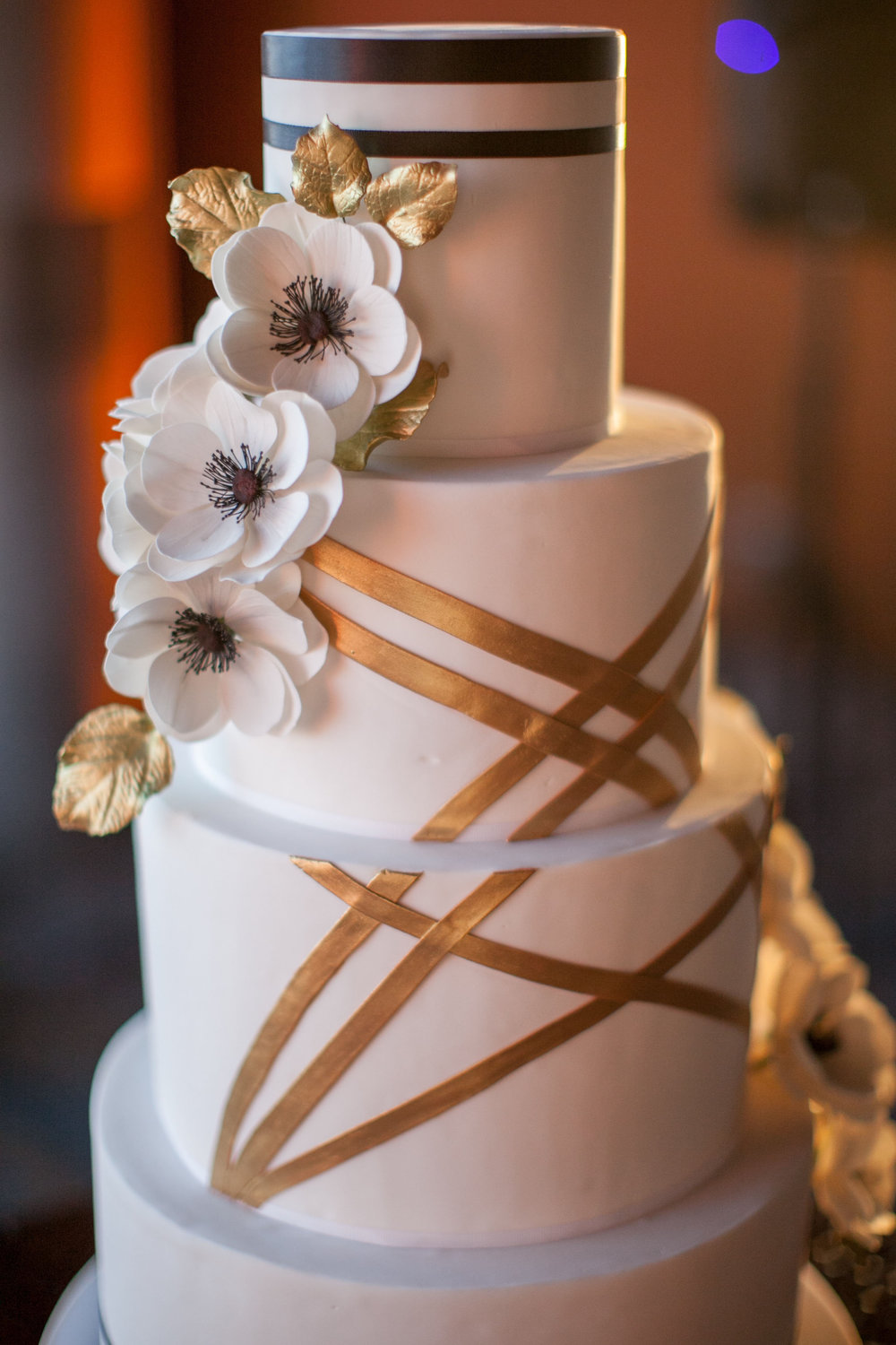 Black White and Gold Art Deco Cake With White Anemone Sugar Flowers for Bell Harbor Wedding