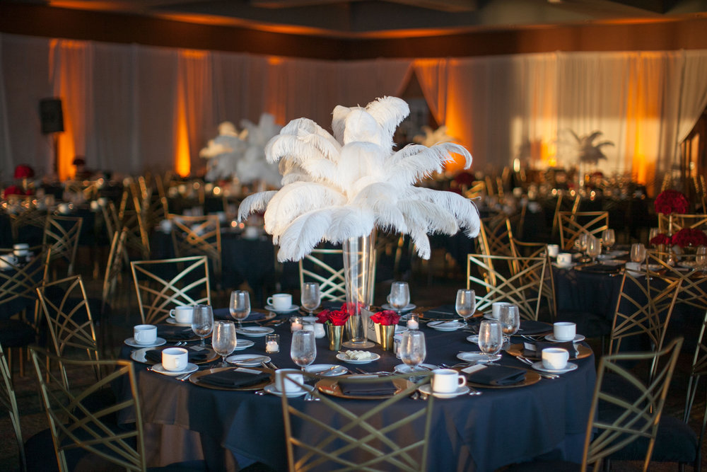 White Ostrich Feather Art Deco Wedding Centerpiece at Bell Harbor