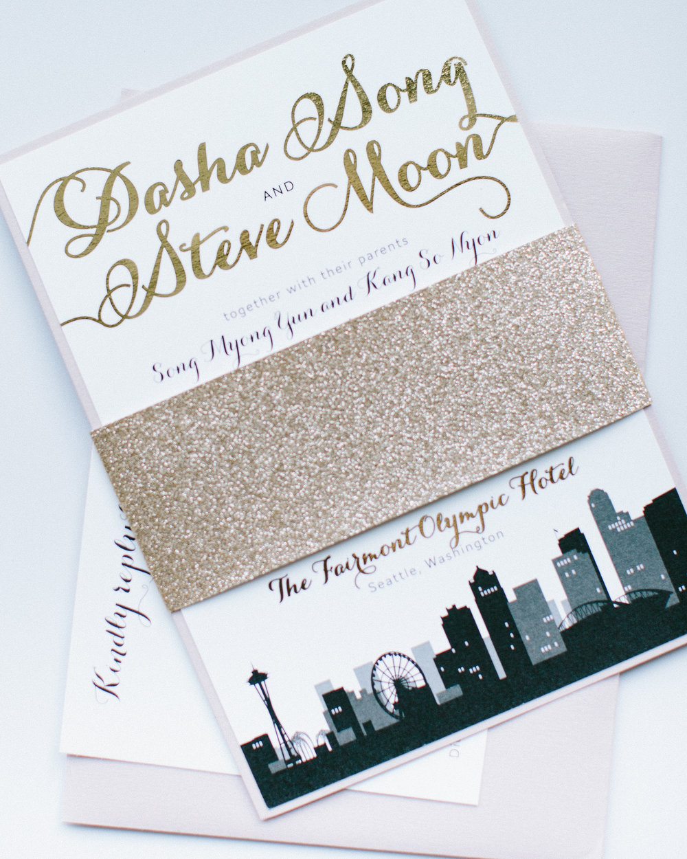 Rose Gold Sparkle Wedding Invitation with Seattle Skyline