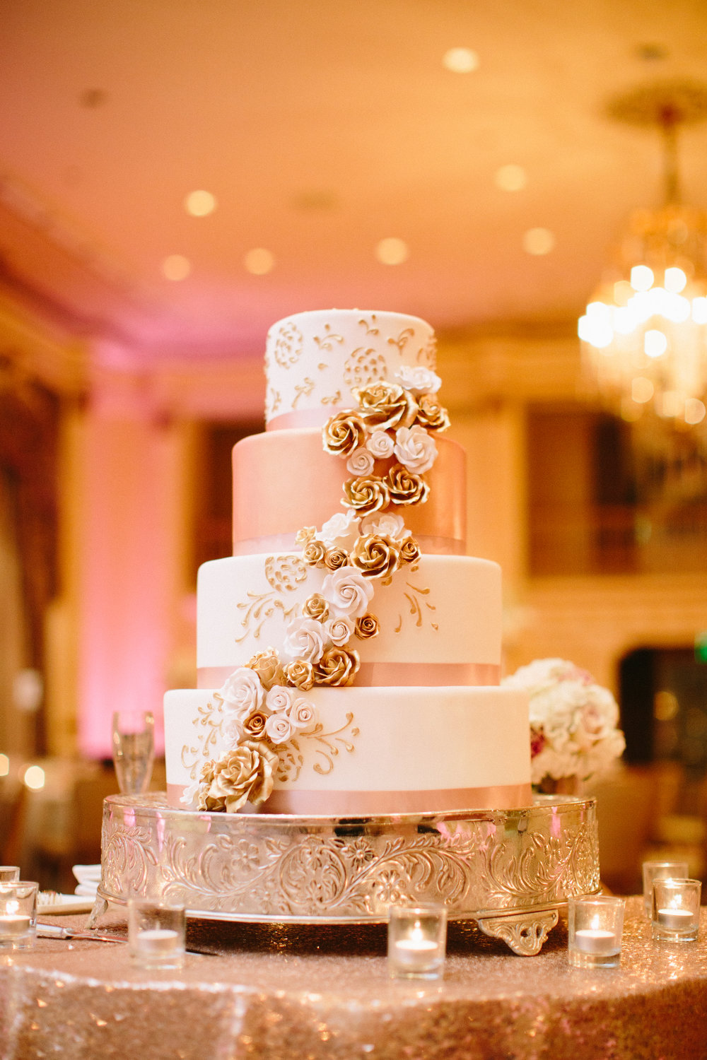 Rose Gold Wedding Cake at the Fairmont Olympic Hotel in Seattle