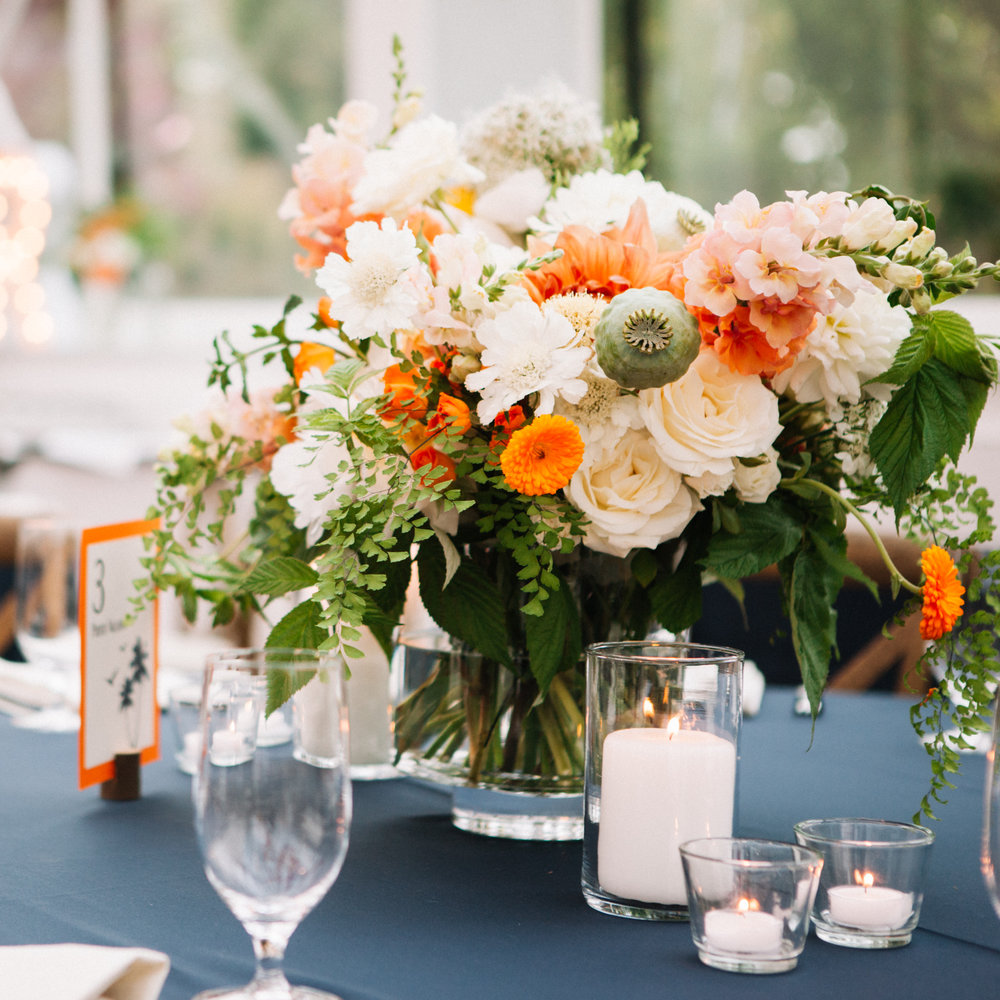 Garden Style Orange Green and White Wedding Centerpiece