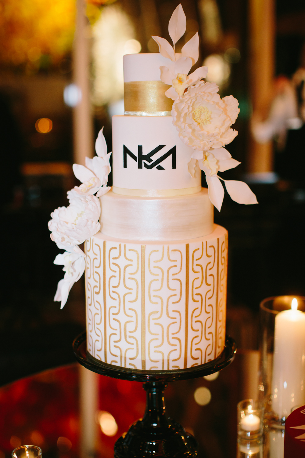 Monogrammed Modern Gold White and Black Wedding Cake by Honey Crumb Cake Studio