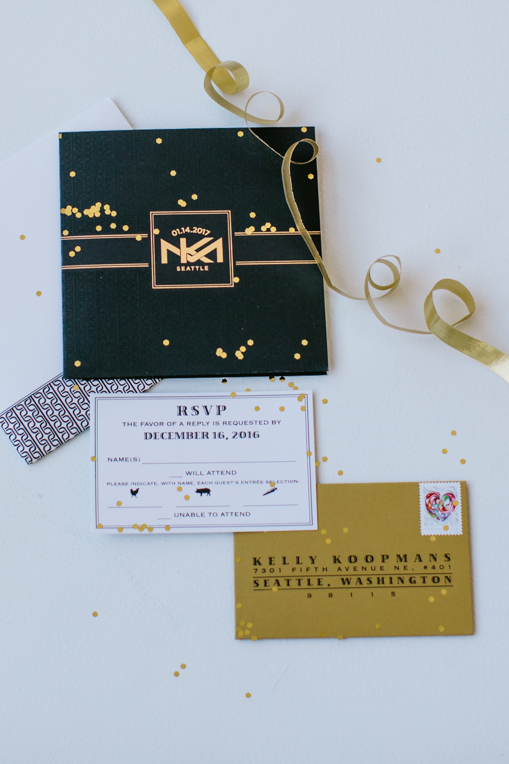 Modern Black, Gold and White Wedding Invitation Suite by Paper Passionista