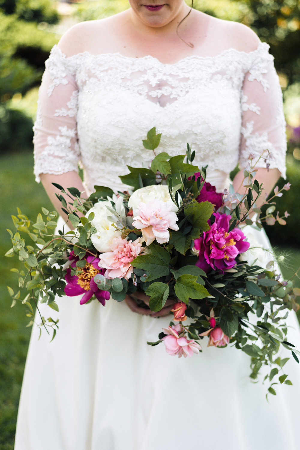 Romantic Lace Wedding Gown and Garden Style Pink and Green Bouquet at Roche Harbor Wedding