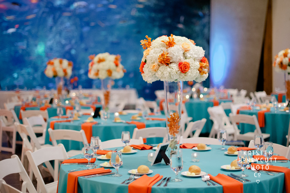 Tropical Themed Orange and Aqua Wedding at Seattle Aquarium