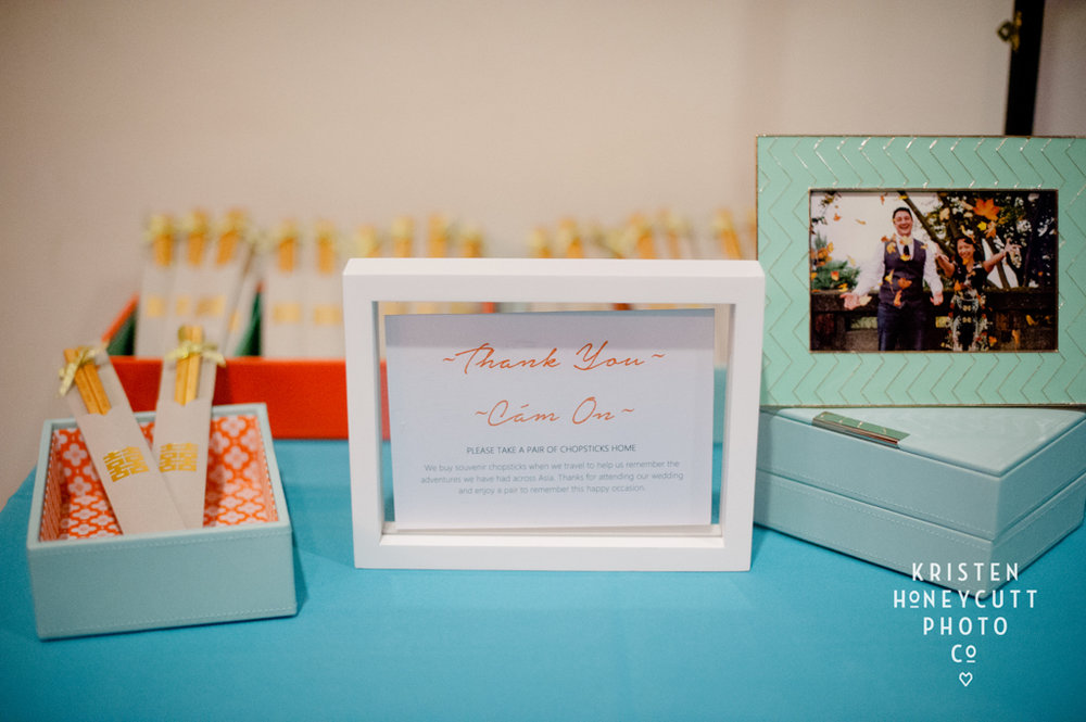 Orange and Aqua Chopstick Wedding Favors at the Seattle Aquarium