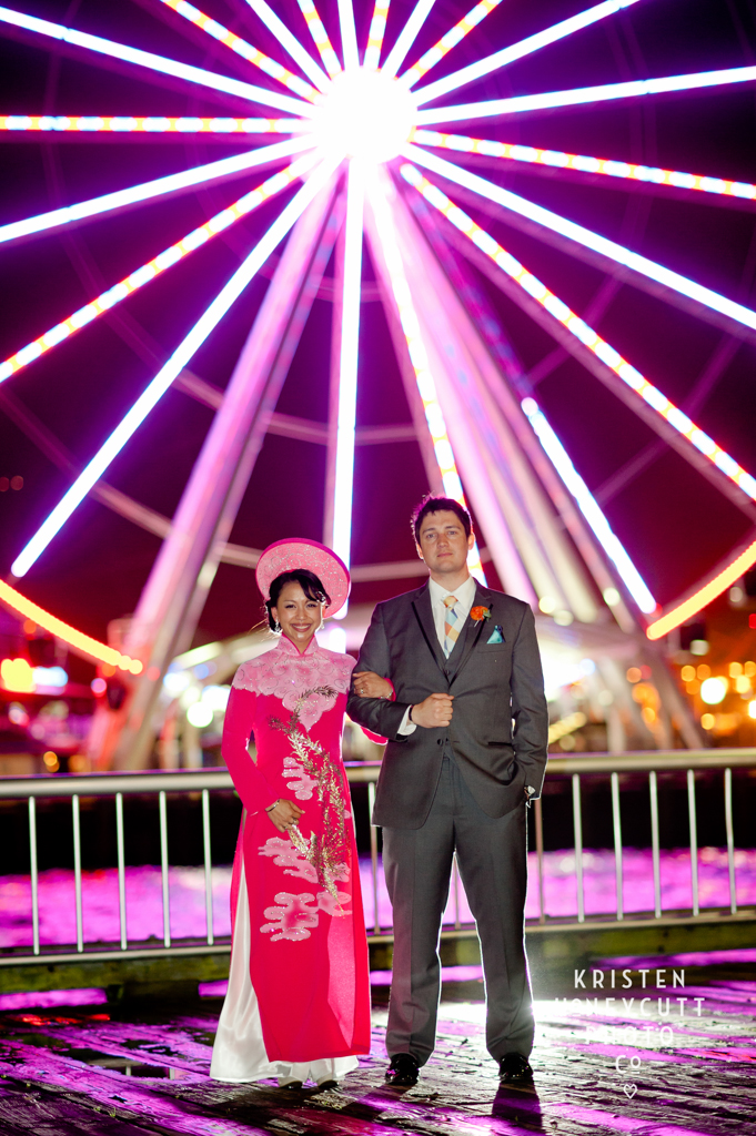 Vietnamese Wedding Outfit at Seattle Aquarium Wedding