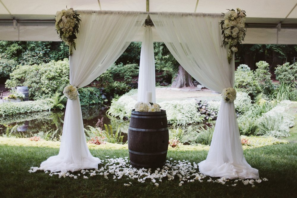 Wedding Ceremony Draping on Arch at this DeLille Cellars Wedding