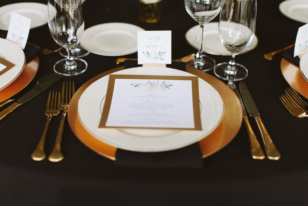 Elegant Gold and Black Wedding Place Setting with Square Menu at DeLille Cellars Wedding