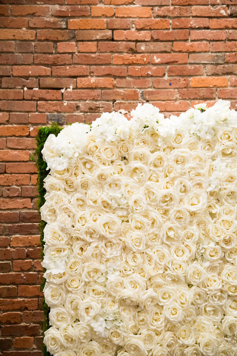 White rose floral wall ceremony backdrop at Axis Pioneer Square wedding