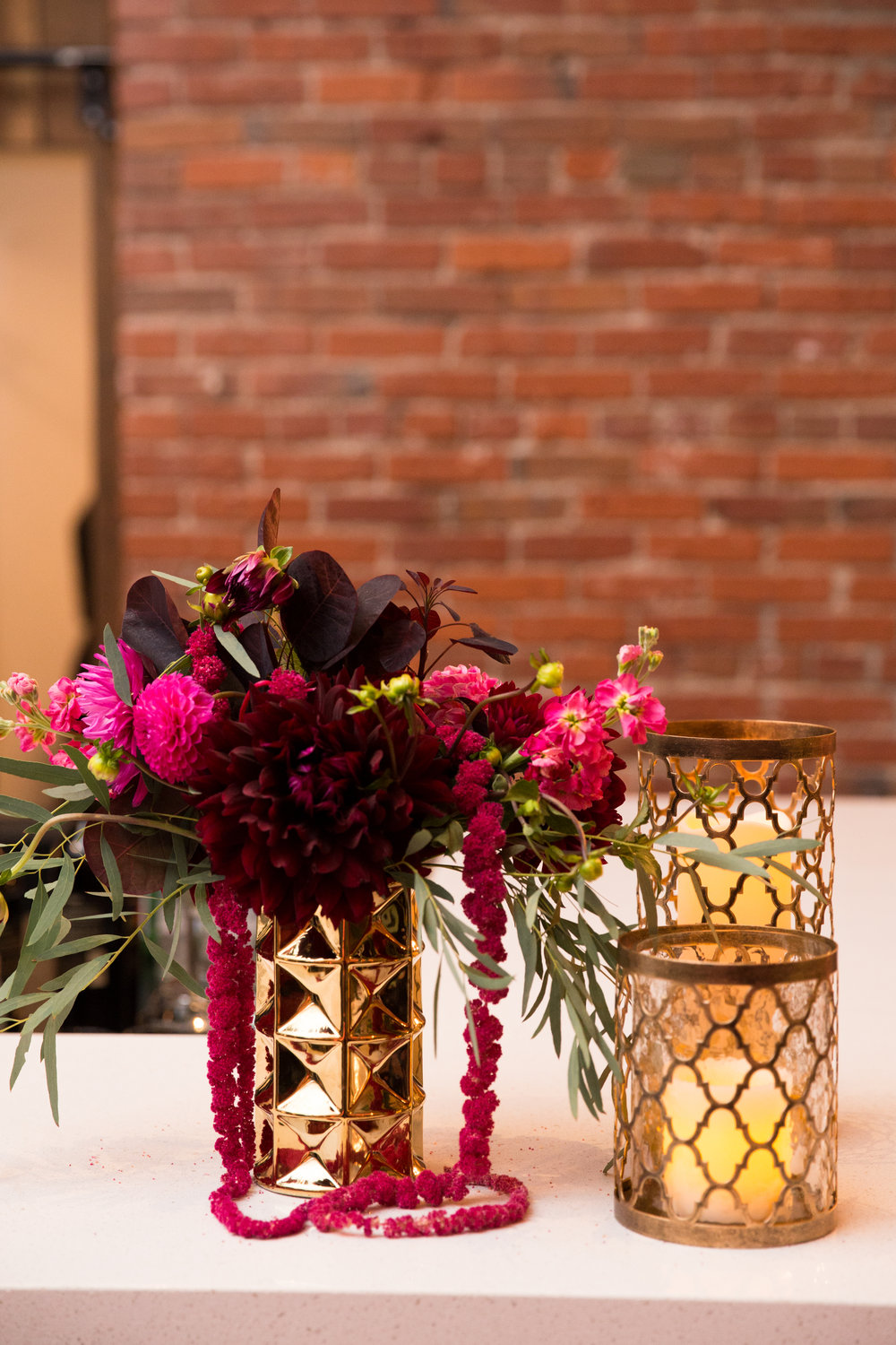 Modern Geometric Burgundy, Pink, Gold and Green Flowers at Axis Pioneer Square Wedding