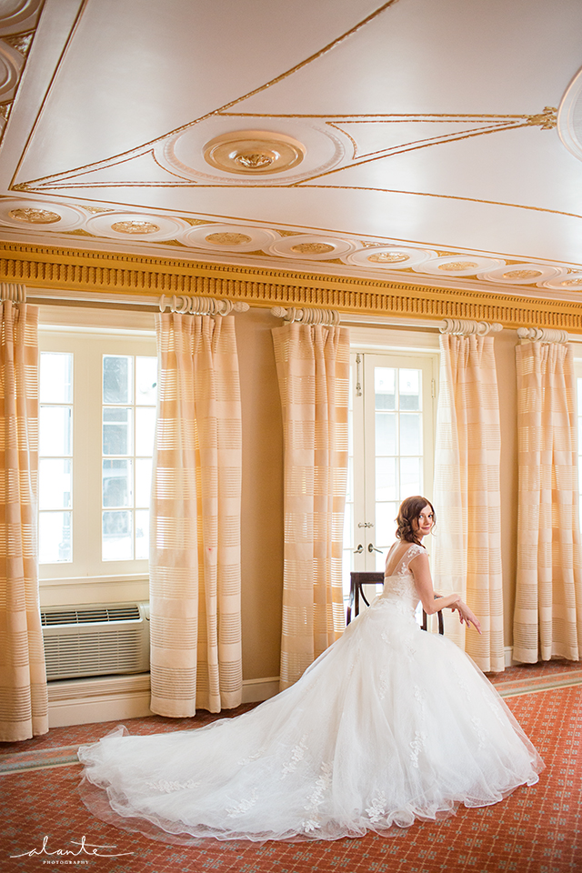 Bridal Portrait in Stunning Wedding Gown at this Rainier Club Wedding