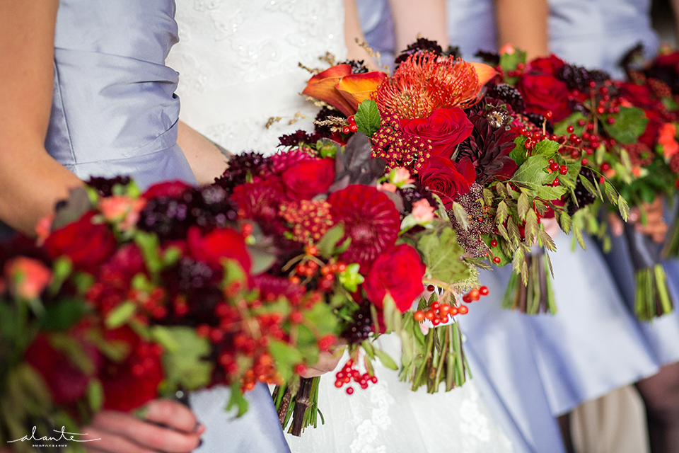 Gorgeous Fall Wedding Bouquets at this Rainier Club Wedding