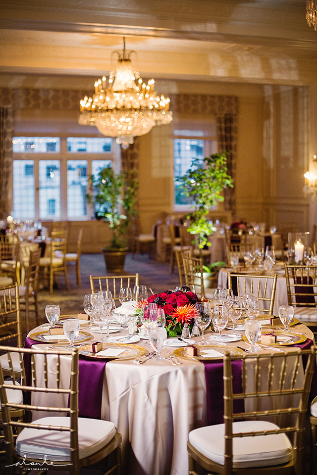 Purple, Red and Orange Fall Wedding Day at the Rainier Club
