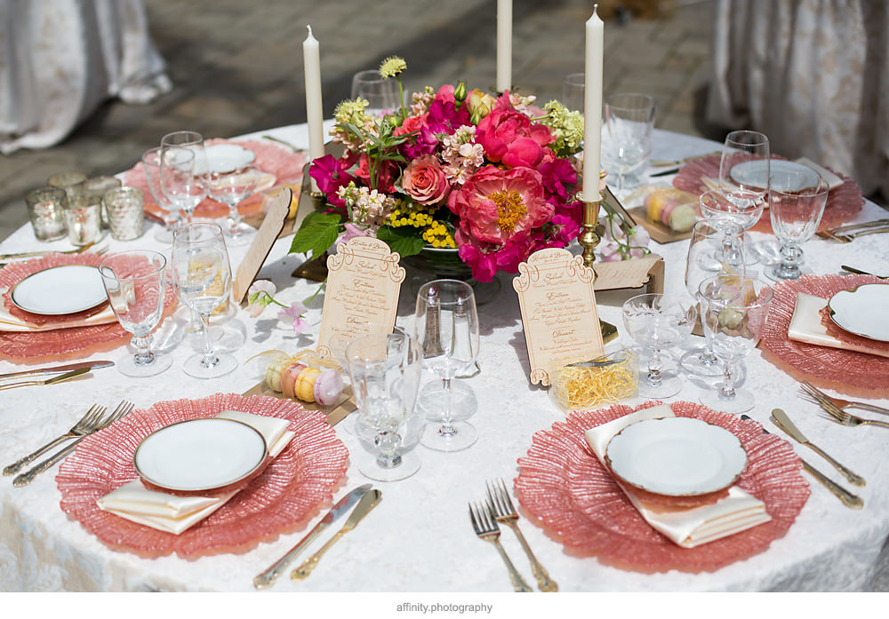Unique Wood Menu and Pink Wedding Centerpiece at DeLille Cellars Wedding