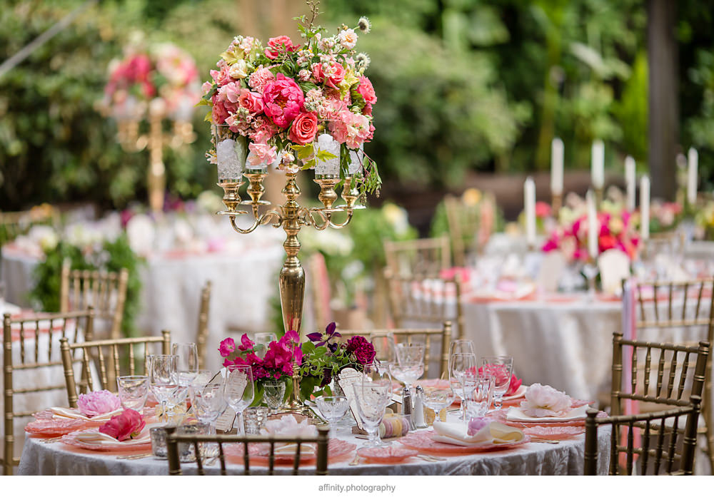 Tall Pink and Green Wedding Centerpiece at DeLille Cellars