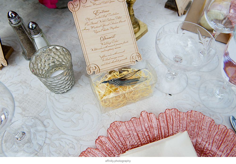 Unique Menue and Wedding Favors at this DeLille Cellars Wedding