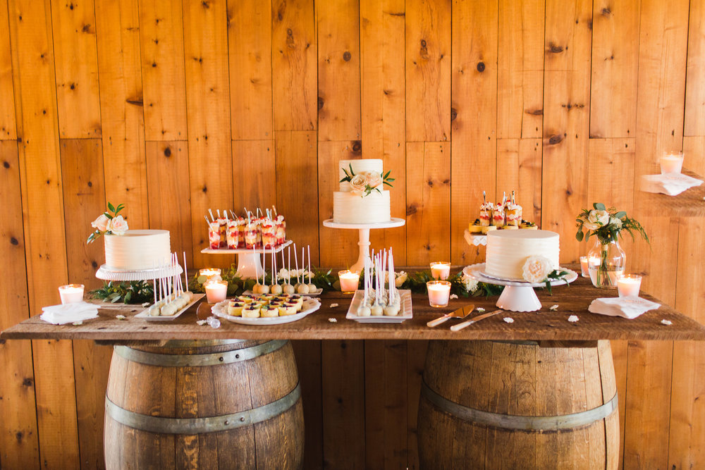 Rustic Cake and Dessert Display Table at Swans Trail Farms Wedding