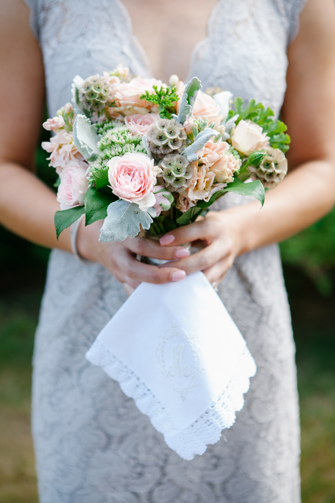Peach and Green Bridesmaids Bouquet at Kiana Lodge Wedding